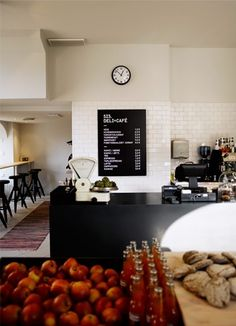 Like the following: prominence of ingredients, counter seating, tiles, retro scale