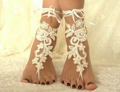İvory Lace Barefoot Sandals,Beach Wedding Lace Shoes,Bridal Lace Barefoot Sandals,Summer Wedding from byPassion on Etsy. Lace Bridal Shoes, Bride Shoes, Wedding Shoes, Wedding Lace, Summer Wedding, Barefoot Sandals Wedding, Bridal Sandals, Bare Foot Sandals, Lace Up Sandals