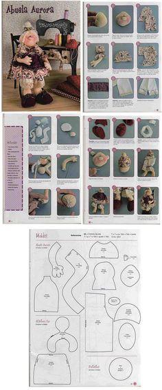 KUFER with artistic handicraft: Ragdolls - cuttings Plush Dolls, Doll Toys, Rag Dolls, Doll Clothes Patterns, Doll Patterns, Tilda Toy, Doll Making Tutorials, Sewing Dolls, Doll Tutorial