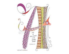 Instant Digital Download Love Lines Letter A for A Cord of Three Strands, Eccl. Wedding, Abstract Doodle Drawing Calligraphy Scripture Bible