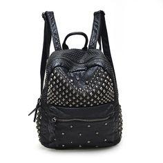 2016 Fashion Women Waterproof PU Leather Rivet Backpack Women's Backpacks for Teenage Girls Ladies Bags with Zippers Black Bags