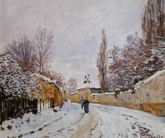 Road under Snow, Louveciennes, 1876 by Alfred Sisley. Impressionism. landscape. Private Collection