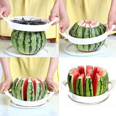 Note: This is a HIGH demand product! Only a limited supply available. Package Includes: 1-Push Stainless Steel Slicer for: Watermelon, Cantaloupe, Melons, Cake,