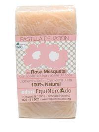 Pastilla de jabón de Rosa Mosqueta. 130 gr. Producto certificado 100% natural Indicado especialmente para pieles secas, deshidratadas y con manchas de sol. Sin aceite de palma. Con aceite de girasol y coco.