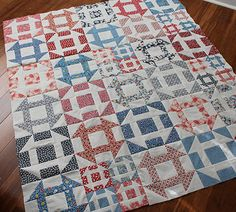 04/09/14- http://www.tidelinequilts.com/Blog.html?entry=soft-subtle-churn-dash-sunrise I began to explore Churn Dash quilt pix online- saw literally dozens that I just love- but this one stood out for two reasons- the name of the blog- Quilting Is More Fun Than Housework- SO TRUE!- and the quilter used a trick I often use myself, splitting a big block into four smaller churn-dash blocks to add visual interest.