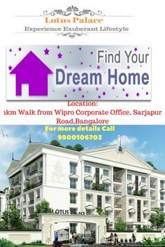 Search for flats for sale in sarjapur road. 2 and 3 BHK Premium Apartments in Sarjapur road.Location: Walk from Wipro Corporate Office, Sarjapur Road, Bangalore Flats For Sale, Buckingham Palace, Apartments, Lotus, Mansions, House Styles, Life, Beautiful, Design