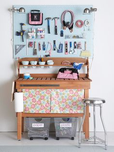 crafty tool area with work table and storage beneath. LOVE the stool