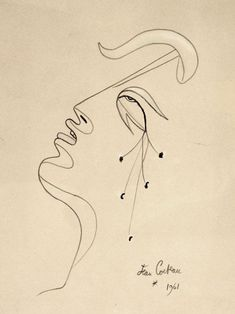 Jean Cocteau, French painting, 1889 - 1963, Profile, 1961 Illustrations, Graphic Illustration, Line Drawing, Painting & Drawing, Hidrocor, Pattern Texture, Inspiration Artistique, Francis Picabia, French Paintings