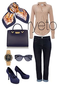 Nae-vy! by ryeto on Polyvore featuring polyvore, fashion, style, Bobi, Yves Saint Laurent, ZAC Zac Posen, Versace, Hermès and 7 For All Mankind