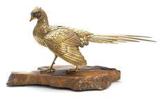 A gilt-bronze okimono of a pheasant By Masatsune, Meiji era (1868-1912) (2)