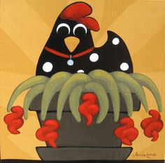 """ Fleur-de-Chic "" Whimsical Chicken Art, Fun Farm Animal Painting by Annie Lane"