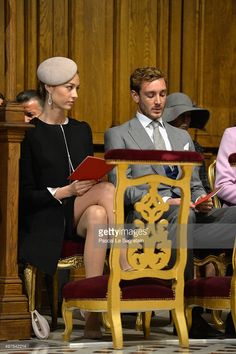 Beatrice Borromeo and Pierre Casiraghi attend a mass at the Cathedral of Monaco during the official ceremonies during the Monaco National Day Celebrations on November 19, 2015 in Monaco, Monaco.