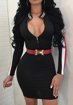 DFBB Women Bodycon Clubwear Long Sleeve Full Zip Sexy Stylish Cocktail Party Midi Dress 1 L -- Details can be found by clicking on the image. (This is an affiliate link) Club Dresses, Sexy Dresses, Fashion Dresses, Mini Dresses, Fashion Clothes, Fashion Scarves, Tight Dresses, Going Out Outfits, Cute Outfits