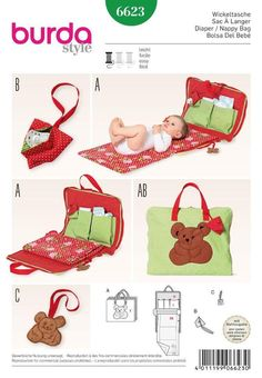 Burda Style Baby Changing Bag 6622 - The Foldline Bag Sewing Pattern, Burda Sewing Patterns, Bag Patterns To Sew, Baby Patterns, Baby Changing Bags, Changing Mat, Baby Sewing Projects, Sewing Hacks, Sewing Tips