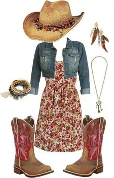 Find More at => http://feedproxy.google.com/~r/amazingoutfits/~3/1D0uX0W9h-4/AmazingOutfits.page Cow Girl Outfits, Summer Cowgirl Outfits, Dresses With Cowboy Boots, Cowgirl Hats, Summer Outfit, Western Outfits, Cowgirl Dresses With Boots, Cowboy Outfits For Women, Cute Cowgirl Boots