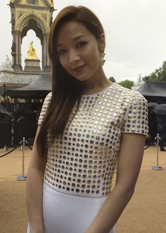 Taiwanese actress Patty Hou wearing Burberry Prorsum at the S/S14 show in London - shot with #iPhone5s #LFW