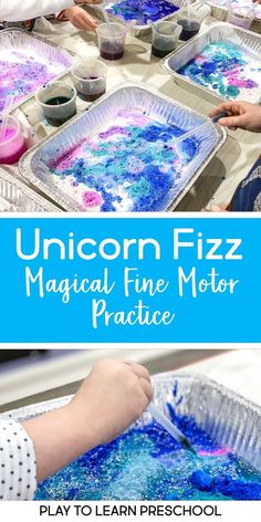 Unicorn Fizz - Magical Fine Motor Practice This super-simple Unicorn Fizz science experiment takes only a few supplies to set up and will engage your students.all while sneaking in some science and fine-motor skills.It's truly magical! Science Experiments For Preschoolers, Preschool Science Activities, Science Crafts, Science Activities For Kids, Preschool Learning, Science For Kids, Science Projects, Science Fun, Science Chemistry