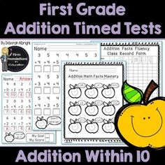 First Grade Addition Timed Tests-Addition Within Math Fact Fluency- Timed Tests with Student and Teacher Record Charts First Grade Addition, Addition Flashcards, Math Lab, Math Fact Fluency, Addition Facts, 1st Grade Math, Math Facts, Common Core Standards, Learning Centers