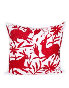 Tenango Embroidered Pillow - Red