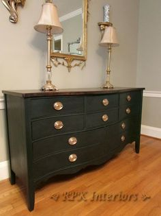 Black + brass buffet makeover