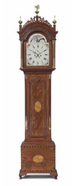 THE MAJOR LUTHER METCALF FEDERAL BRASS-MOUNTED INLAID MAHOGANY TALL-CASE CLOCK -  BEARS INSCRIPTION DOCUMENTING THE MOVEMENT TO CALEB WHEATON (1757-1827), PROVIDENCE, RHODE ISLAND AND THE CASE TO LUTHER METCALF (1756-1838) AND ICHABOD SANFORD (1768-1860), MEDWAY, MASSACHUSETTS, 1796 -   the case inscribed in ink Luther and in pencil Metcalf/ This Clock Case was made by/ Ichabod Sanford in January 1796/ Clock made by Caleb Wheaton of Providence/ R.I.  97 in. high, 20 1/4 in. wide, 10 1/2 in…