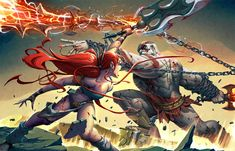 Here's a promo art piece for a well known video game website. [link] Kratos ( God of War ) VS Nariko ( Heavenly Sword ) Should be up soon. Kratos Mortal Kombat, Heavenly Sword, Kratos God Of War, Fantasy Warrior, Video Game Characters, Gods And Goddesses, Character Illustration, Art World, Game Art