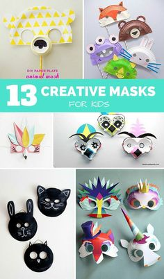 13 Creative DIY Masks for Kids. Fun for pretend play or easy Halloween costumes!