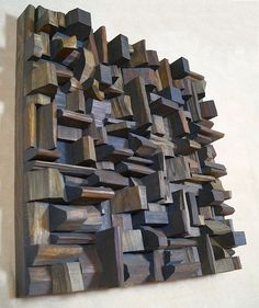 wood sound diffuser, wood acoustic panel, wood audio diffuser, recycled wood art ideas reciclaje MY WORKS Abstract Sculpture, Wood Sculpture, Wall Sculptures, Acoustic Diffuser, Recording Studio Design, Bois Diy, Wood Mosaic, Acoustic Panels, Contemporary Artwork