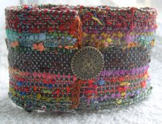 Handwoven Fabric Cuff Bracelet Bands of Autumn by barefootweaver