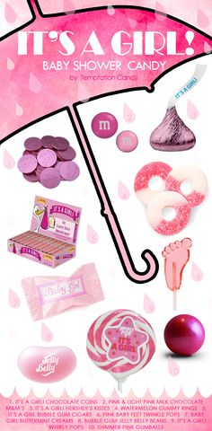 """Are you planning a spectacular """"It's A Girl!"""" Baby Shower? Sounds like so much, but don't forget to make it tasty! There are all types of delicious pink baby shower themed candy to choose from including Hershey's Kisses, Buttermints, Chocolate, Lollipops, Jelly Beans and much, much more. We've picked out some of the most popular candy people buy for their 'It's a Girl!' baby showers. Don't overlook these for your beautiful party. #BabyShower"""