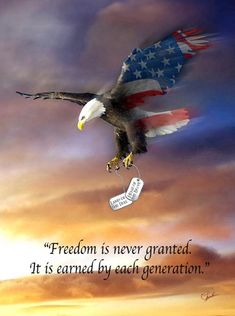 Bald Eagle Flag carrying dog tags with quotes. I want this in an eagle tattoo for papa❤ American Pride, American History, American Flag, American Freedom, American Quotes, American Soldiers, I Love America, God Bless America, America America