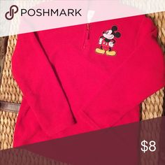 Mickey Mouse kids fleece pullover Red fleece with Mickey appliqué and zip up to Lee neck warm. Only worn once and in very good condition. Disney Shirts & Tops Sweatshirts & Hoodies