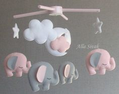 Elephant baby mobile, Baby Crib Mobile, Gray White Pink Mobile, Baby mobile Elephant mobile, Pink and gray elephant mobile, Baby Girl Mobile