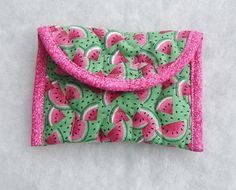 Card Holder  Watermelons by doodlebugquilts on Etsy (Accessories, Case, Card, bags and purses, pouch, purse, small, wallet, card case, handmade, quilting, watermelon, green, summer, fruit)