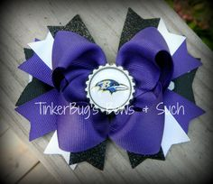 I think little Ellie may need this :)  Ravens Boutique Style Hairbow by TinkerBugsBowsNSuch on Etsy, $8.50