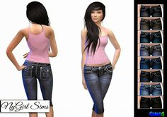 My Sims 4 Blog: Big Stitch Capri Jeans for Females by NyGirl
