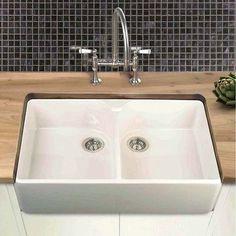 Villeroy Boch Farmhouse 90 White Ceramic Double Bowl Belfast Sink 895 X