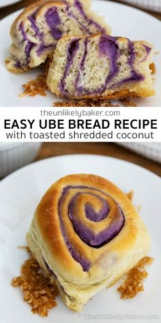 Ube bread — delicious ube jam enveloped in soft, fluffy bread and served with toasted coconut. This Filipino ube bread is perfect for special occasions but so easy to make you'd want to make it all the time for breakfast or merienda. Follow along with step-by-step photo instructions. #ubebread #uberecipe #filipinofood #filipinocuisine Ube Recipes, Healthy Bread Recipes, Yeast Bread Recipes, Brunch Recipes, Baking Recipes, Muffin Recipes, Ube Bread Recipe, Filipino Bread Recipe, Filipino Recipes