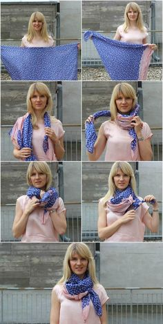 This is how it& done: 3 stylish ways to tie scarvesFASHION UP YOUR LIFE. Tie scarves and scarves: rabbit ears Ways To Tie Scarves, Ways To Wear A Scarf, How To Wear Scarves, Look Fashion, Fashion Outfits, Womens Fashion, Fashion Tips, Scarf Knots, Mode Chic