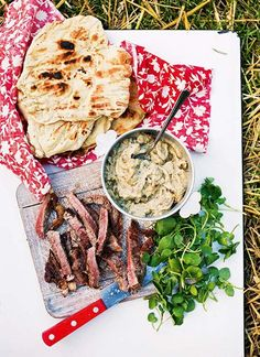 Steak, a quick bread and a smoky baba ghanoush – this recipe has all the makings for a brilliant barbecue.