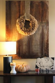fall decor....love the huge ribbon to hold it.....@Stephanie Married