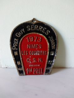 Selection of Vintage Horseshoe French Equestrian Enamel Plaques - You can always be a Champion at Home