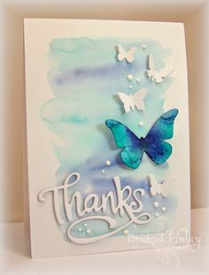 card making techniques die cutting Butterflies for Karren by bfinlay - Cards and Paper Crafts at Splitcoaststampers Cool Cards, Diy Cards, Butterfly Cards, Blue Butterfly, Karten Diy, Watercolor Cards, Watercolor Background, Paper Background, Card Making Inspiration