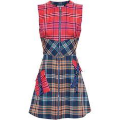 House Of Holland A-Line Tartan Dress ($615) ❤ liked on Polyvore featuring dresses, punk rock dresses, plaid dress, house of holland dress, a line dress and checked dress