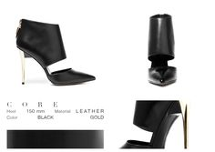 Not a stiletto, not a bootie, just a dream. Core is the perfect combination of soft black leather and a golden high heel. The new concept of an old glory.  ONLINE STORE: bymareshoes.com