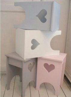 pastel painted stools with heart detail