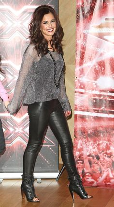 Cheryl Cole - loving the leather pants and boots with the shirt and curls here! :D