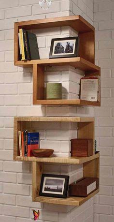 14 corner shelves that transform the decor -  wooden-shelves-in-pairs-box-format  - #corner #decor #HomeInteriorDesign #ModernHouseDesign #shelves #transform #WebDesign<br> Floating Shelves Diy, Wooden Shelves, Wood Shelf, Bar Furniture, Cheap Furniture, Space Furniture, Furniture Stores, Furniture Plans, Rustic Furniture