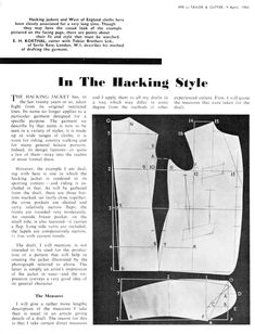 The Hacking Style - The Coatmaker's Forum - The Cutter and Tailor