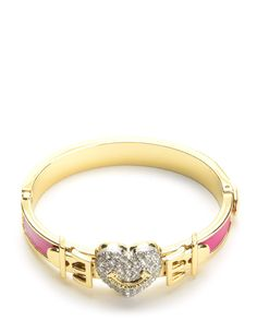 PAVE HEART BUCKLE LEATHER BANGLE - Juicy Couture